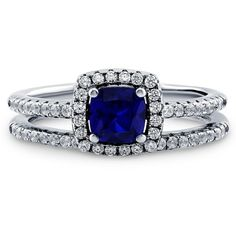 BERRICLE Sterling Silver Cushion Simulated Blue Sapphire CZ Halo Ring... ($70) ❤ liked on Polyvore featuring jewelry, rings, accessories, 2 piece ring set, sapphire, sterling silver, women's accessories, round cut engagement rings, sterling silver engagement rings and cubic zirconia wedding rings