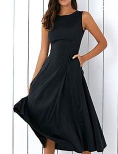 Sleeveless Loose Fitting Women's Midi Dress
