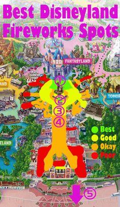 Blog post con un mapa de los mejores fuegos artificiales de Disneyland visualización de manchas, y las fotos de esos lugares!
