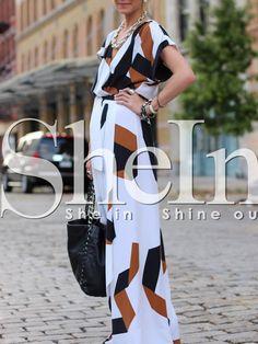 robe fendu motif géométrique -blanc -French SheIn(Sheinside)