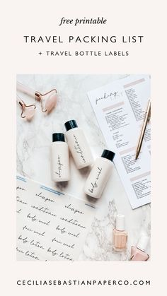 @cecilia.sebastianpaperco | ceciliasebastianpaperco.com | Our Free Printable Packing List & Travel Bottle Labels will have you perfectly packed and ready for your next adventure. I created a super complete (and super cute) packing list to share with you. Plus as an added bonus, I also created fun Printable Travel Bottle Labels to keep all of your travel toiletries looking stylish. #travelbottlelabel #packinglist #packinglistfreebie #travelpackinglist #vacationpackinglist Diy Wedding Stationery, Printable Wedding Invitations, Packing List For Vacation, Travel List, Printable Packing List, Travel Bottles, Travel Toiletries, Papers Co, Bottle Labels