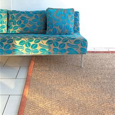 turquoise leaf pattern couch