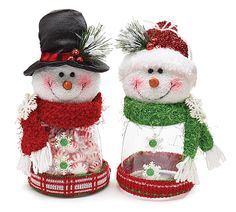 "#burtonandburton Assorted snowmen acrylic candy jar.10 1/2""H X 5""W X 5""D.2 assortments of 2. Total of 4."