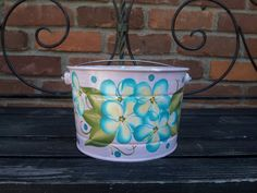 Decortive Hand Painted Pot by krystasinthepointe on Etsy, $14.00