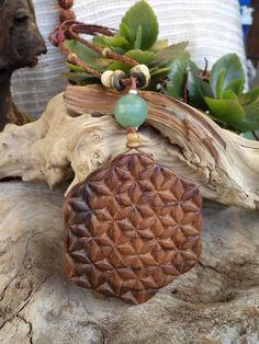 Flower of Life. Olive wood pendant by ValleyWWKing on Etsy