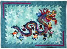 "Hoffman Challenge - 2014 Best Incorporation of the Challenge Fabric Mixed Technique ""Dragon Dance"" Laurie Miller"