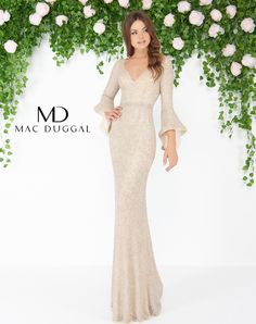 Mac Duggal prom and pageant dress. Long bell sleeve, deep V-neck, fully beaded column formal dress with small train. From Dress & Party, a prom and pageant dress store in Columbus, OH. Pink Prom Dresses, Prom Dresses With Sleeves, Pageant Dresses, Homecoming Dresses, Evening Dresses, Bridesmaid Dresses, Formal Dresses, Long Dresses, Dress Long