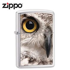 Stare down a snowy owl with this brushed chrome windproof lighter. This lighter features a snowy white owl in magnificent detail showing off the owl's bright br Cool Zippos, Best Humidor, Zippo Collection, Owl Eyes, Lighter Fluid, Snowy Owl, Classic, Animals, Animales