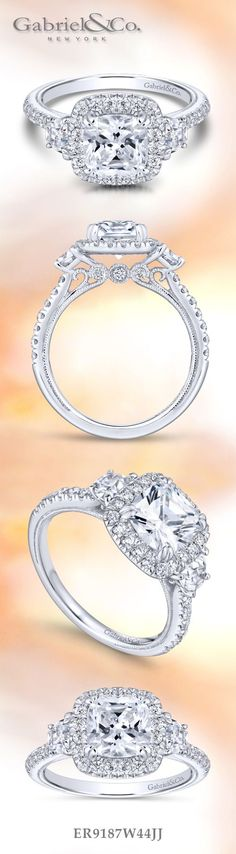 Gabriel & Co. - Voted #1 Most Preferred Bridal and Fashion Brand. 14k White Gold Cushion Cut Three (3) Stones Halo Engagement Ring.