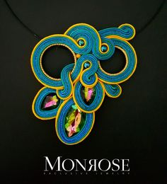 Soutache necklace by Monrose Jewelry Soutache Pendant, Soutache Necklace, Shibori, Washer Necklace, Jewerly, Diy And Crafts, Brooch, Beads, Beading