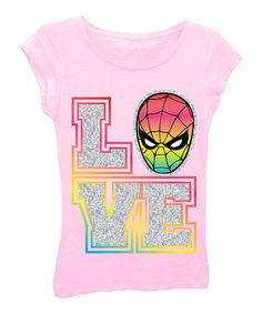 Loving this Pink Spider-Man 'Love' Sleeveless Tee - Girls on #zulily! #zulilyfinds