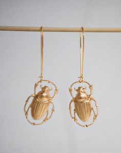 Gold Beetle EARRINGS Nature Study Victorian by redtruckdesigns