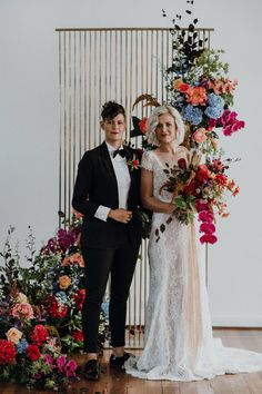 vibrant same sex wedding at The Flour Factory, Perth Floral Wedding, Wedding Colors, Dream Wedding, Wedding Day, Wedding Blog, Wedding Ceremony Backdrop, Rainbow Wedding, Wedding Flower Inspiration, Lesbian Wedding