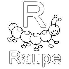 Ausmalbild Buchstaben lernen: Kostenlose Malvorlage: R wie Raupe kostenlos ausdrucken