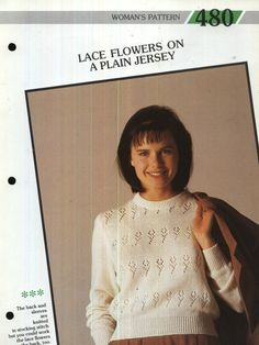 480 Creative Knitting Woman's Pattern 480 : Lace Flowers on a Plain Jersey Pamphlet – 1986 Creative Knitting, Lace Flowers, Stockings, Stitch, Sleeves, Pattern, Women, Fashion, Socks