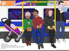 Rolling up and sharing music, Jubilee line, December 2017 – Wilson Yau: I draw, teach and make stuff Jubilee Line, 1st December, London Underground, My Drawings, Tube, Teaching, Music, How To Make, Musica