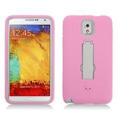 Samsung Galaxy Note 3 Light Pink Skin/Grey Kickstand Hybrid