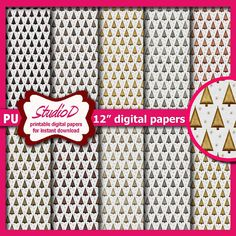 Metallic Christmas trees 12x12 digital paper pack for instant download Printable scrapbooking premade pages DP023 by StudioDprint