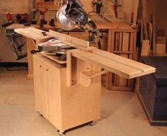 Woodworking Bench Ultimate Miter Saw Stand - Page 2 of 2 - Popular Woodworking Magazine - This clever rolling stand allows you to make dead-on crosscuts, and then it folds up when not in use. Plus, you need only two sheets of plywood to build it. Intarsia Woodworking, Woodworking For Kids, Woodworking Magazine, Woodworking Supplies, Woodworking Workbench, Popular Woodworking, Woodworking Crafts, Woodworking Techniques, Woodworking Basics