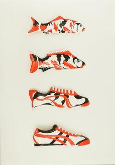 Yoske Nishiumi (Design) für Onitsuka Tiger, KOI Morphing, Berlin, 1/2008, Poster, 100,0 x 70,0 cm, Agentur: KoiKlub, Foto: Kai von Rabenau, © Kai von Rabenau