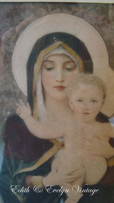 Vintage Madonna and Child Print Framed by edithandevelyn on Etsy on Etsy