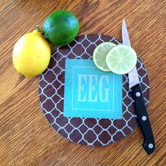 monogram circular small cutting board
