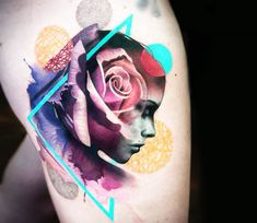 Very nice full colors abstract tattoo style of Girl face with Rose motive done by tattoo artist Chris Rigoni Mom Tattoos, Great Tattoos, Body Art Tattoos, Tattoo Sketches, Tattoo Drawings, Tattoo Art, Zues Tattoo, Design Rosa, Surreal Tattoo