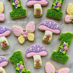 Iced Sugar Cookies, Sugar Cookie Frosting, Royal Icing Cookies, Butterfly Birthday Party, Fairy Birthday Party, 3rd Birthday, Butterfly Cookies, Flower Cookies, 1st Birthday Girl Decorations