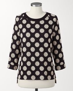 Dotted pullover  Fun-loving dots make a weekend-ready silhouette that much more irresistible.