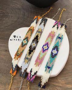 Loom Bracelet Patterns, Bead Loom Bracelets, Bead Crochet Patterns, Beading Patterns, Bead Jewellery, Beaded Jewelry, Beadwork Designs, Tear, Colorful Bracelets