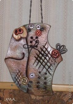 Поделка изделие Лепка Роспись Лягушечка и рыбка-пуговка  картина с бабочками - повторюшки Гуашь Тесто соленое фото 1