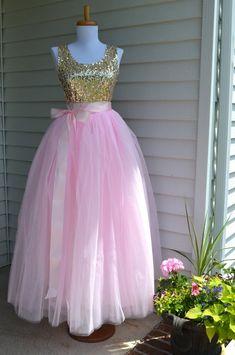 Womens Tutu, Pale Pink Tulle skirt, tulle skirt, pink skirt, ballet skirt, ballet tutu, Floor Full Length Puffy