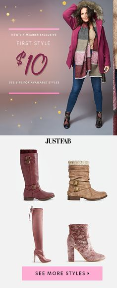 BOOT SEASON IS HERE! For a limited time, New VIP's can get their first pair for as low as $10! Revamp your shoe closet and shop these and hundreds of other adorable styles. Just take our Style Quiz to get started and you'll be whisked away to your own personal style boutique. Hurry, this amazing offer won't last long!