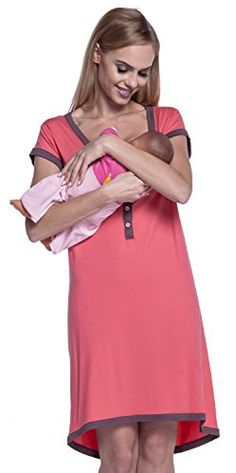 Happy Mama Womens Maternity Nursing Breastfeeding Nightdress Shirt Gown 981p Coral  Capuccino US 1012 2XL *** For more information, visit image link.Note:It is affiliate link to Amazon.