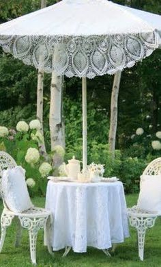 Luncheon Al Fresco with a Shabby Chic Lace Accented Umbrella Parasol, Lace Umbrella, Shabby Chic Garden, Queen Annes Lace, Afternoon Tea Parties, White Cottage, White Gardens, High Tea, Garden Furniture