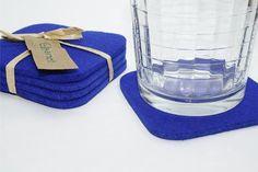 Platz Getränk Absorbierende Untersetzer in 5mm dick Virgin Merino Wollfilz Stoff Royal Blue Eco Friendly Gefilzt Barware Housewarming Hostess Geschenk
