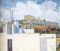 The Acropolis, Athens 1972 Greece Painting, Greek Art, Acropolis, Artist Art, Art Techniques, Contemporary Art, Watercolor, Landscape, Beautiful