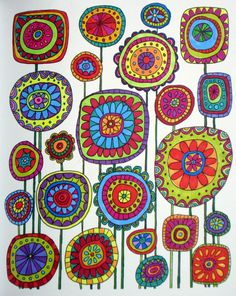 Just Add Color: Botanicals: 30 Original Illustrations To Color, Customize, and Hang Folk Art Flowers, Flower Art, Rock Painting Designs, Flower Doodles, Zentangle Patterns, Fabric Patterns, Art Plastique, Fabric Painting, Mosaic Art