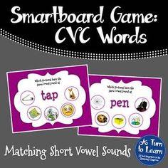 CVC Words: Match the Vowel Sound Game for Smartboard/Promethean Board!