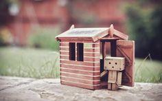 Lataa kuva Danbo, talo, pahvi robotti, bokeh, danboard laatikko