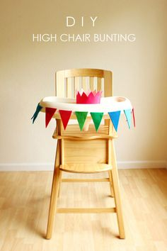 High chair bunting (And 27 other Most Adorable DIY Baby Projects Of All Time) Baby 1st Birthday, First Birthday Parties, First Birthdays, Birthday Ideas, Simple First Birthday, Birthday Week, Felt Bunting, Felt Garland, Diy Garland