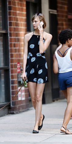 Karlie Kloss in a cute romper by Reformation