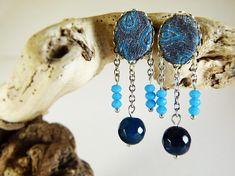 Blue agate earrings damask tissue  tissue earrings  natural