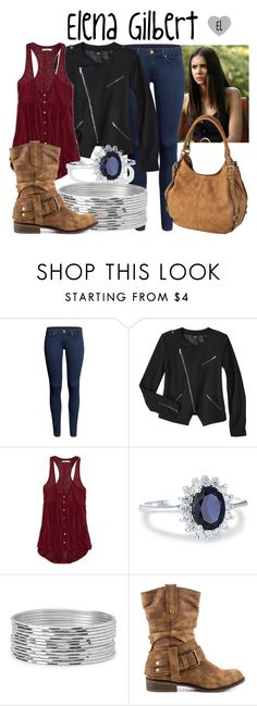 """""""Elena Gilbert -- The Vampire Diaries"""" by evil-laugh ❤ liked on Polyvore featuring H&M, Mossimo, American Eagle Outfitters, Simply Silver, Forever 21, JustFab, Merona, tvd, thevampirediaries and ElenaGilbert"""
