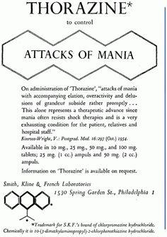 Thorazine advertisement, 1955.  Psychosomatic Medicine, Vol. 17, No. 2.