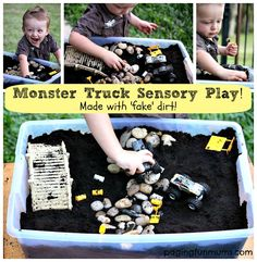 Monster Truck Sensory Play - made with 'fake' dirt! Bring hours of sensory and imaginative play to your home with this simple project. Sensory Tubs, Sensory Rooms, Sensory Play, Car Activities, Preschool Activities, Space Preschool, Outdoor Activities, Small World Play, Messy Play