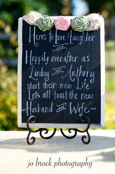 shabby chic wedding sign (by just kate etc.) want this for the bar!!! So cute!