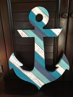 Anchor Painting, Anchor Wall Art, Wood Anchor, Nautical Anchor, Nautical Craft, Navy Anchor, Behr Exterior Paint, Beach Crafts, Wood Pallets