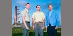 Neil Armstrong, Michael Collins and Buzz Aldrin at the Kennedy Space Centre in 1969.