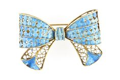 Gold Washed 800 Silver Filigree Enamel Bow Pin by Yourgreatfinds